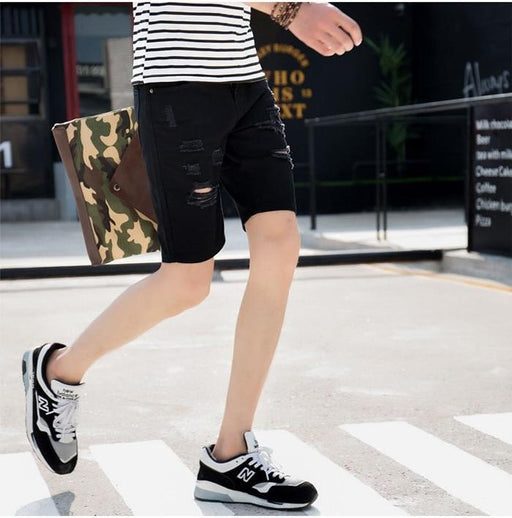 Men's Breathable 98% Cotton Fashion Leisure Ripped Short Jeans - SolaceConnect.com
