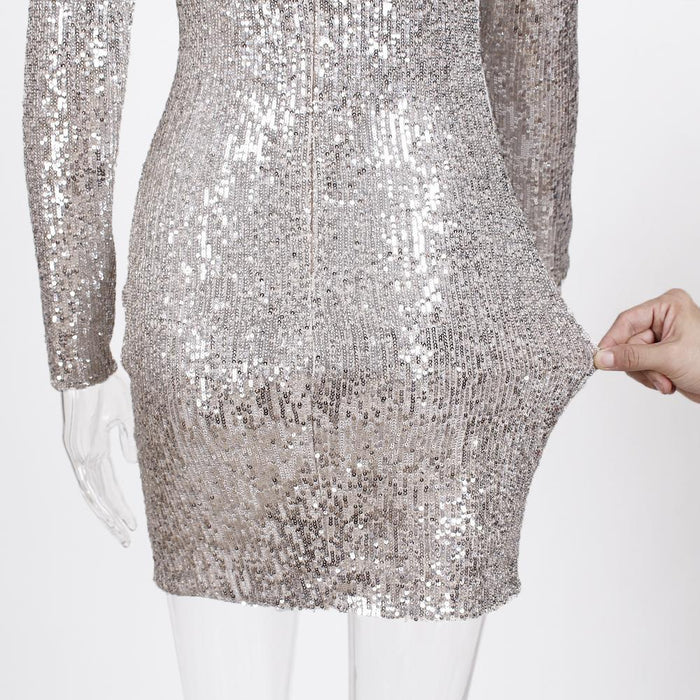 Full Sleeved Stretch Striped Sequined O-Neck Short Club Night Party Dress - SolaceConnect.com