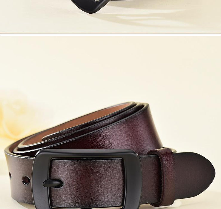 Vintage Fashion Women's Genuine Leather Straps Pin Buckles Waistband - SolaceConnect.com