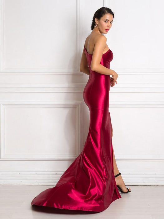 Sexy One Shoulder Sleeveless High Split Back Zipper Floor Length Maxi Dress - SolaceConnect.com