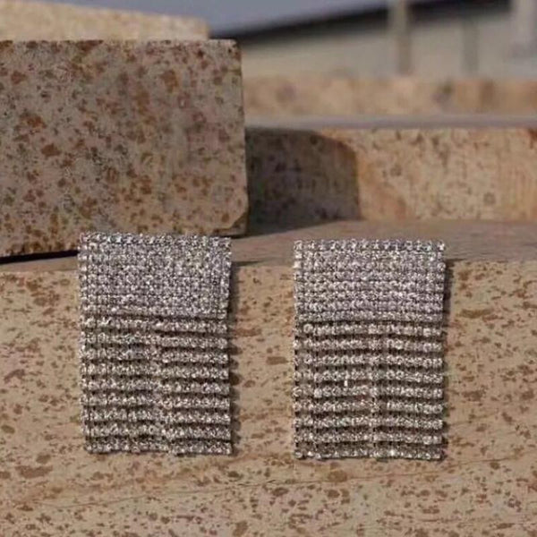 Lady's Full Shiny Rhinestone Long Chain Dangle Earrings Statement Jewelry - SolaceConnect.com