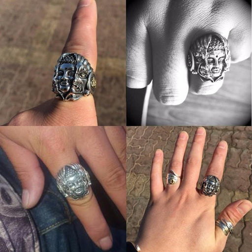 Buddhist Biker Jewelry Adjustable Silver Men's Devil Gothic Ring - SolaceConnect.com