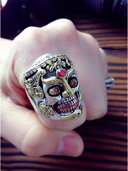 Punk Rock Gothic Hyperbole Skull Smile Inlay Garnet Stone Ring for Unisex - SolaceConnect.com