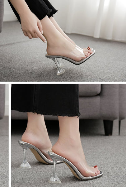 Women's Orange Silver PVC Jelly Transparent Perspex Open Toe High Heels - SolaceConnect.com