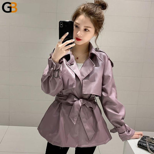 FTLZZ Autumn Women Loose Pu Faux Soft Leather Jacket Turndown Collar Motorcycle Black Coat Female - SolaceConnect.com