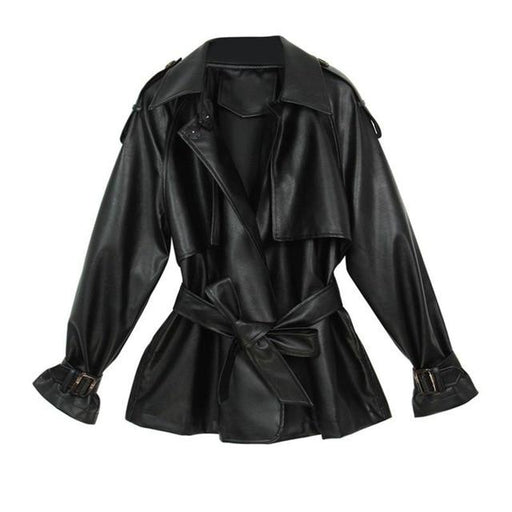 Women's Loose Soft Synthetic Leather Jacket Black Turn Down Collar Streetwear - SolaceConnect.com