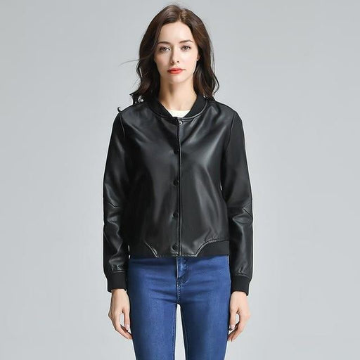 Synthetic Leather Round Neck Women's Motorcycle Jacket Elegant Baseball Outwear - SolaceConnect.com