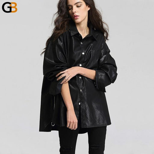 Loose Washed Free Size Casual Jacket Leather Turn Down Collar Women's Coat - SolaceConnect.com