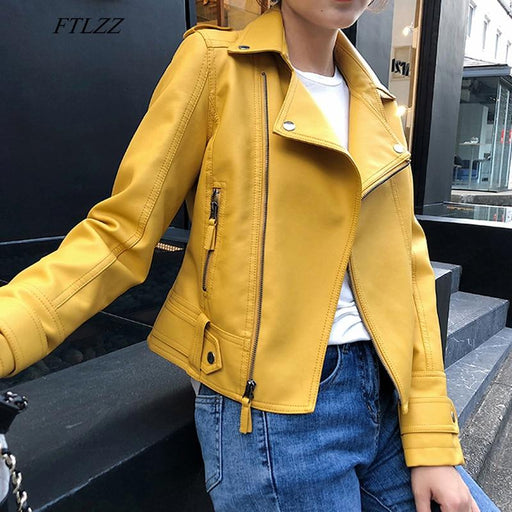 Women's Synthetic Leather Pink Yellow Zipper Rivet Jacket Soft Motorcycle Coat - SolaceConnect.com