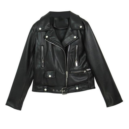 Soft Synthetic Leather Spring Autumn Women's Zipper Jacket High Quality Outwear - SolaceConnect.com