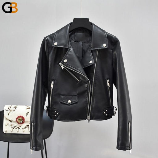 Black Synthetic Leather Autumn Coat Women's Motorcycle Zipper Jacket with Rivet - SolaceConnect.com