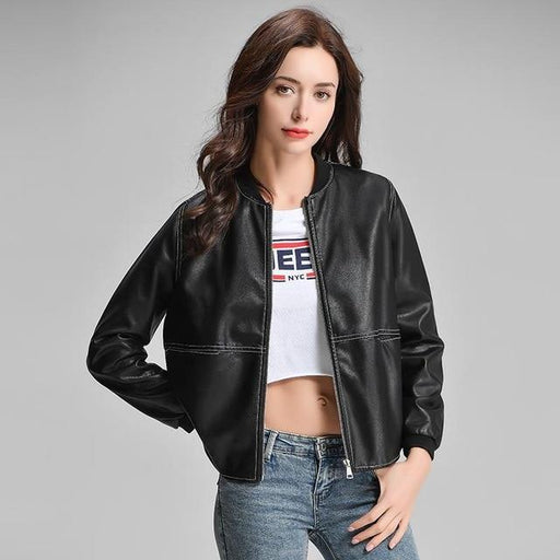 Casual Synthetic Leather O Neck Jacket for Women Black Brown Punk Outwear - SolaceConnect.com