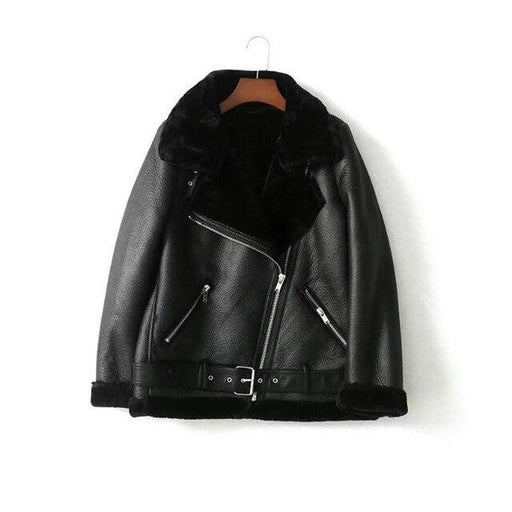 Autumn Winter Synthetic Lamb Leather Soft Coat Fur Collar Zipper Women's Jacket - SolaceConnect.com