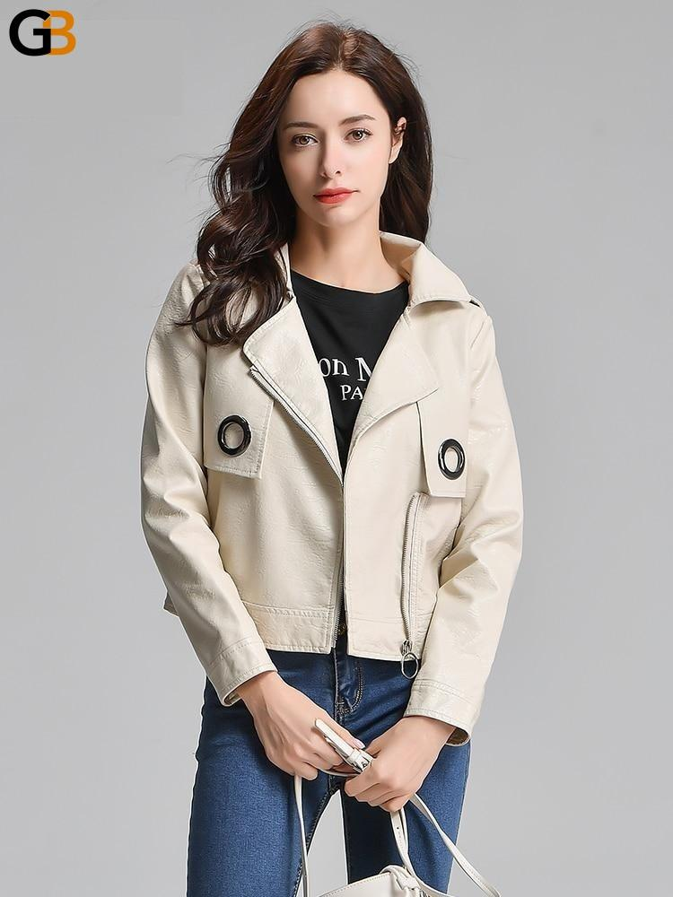 Loose Synthetic Leather Classic Autumn Spring Punk Biker Jacket for Women - SolaceConnect.com