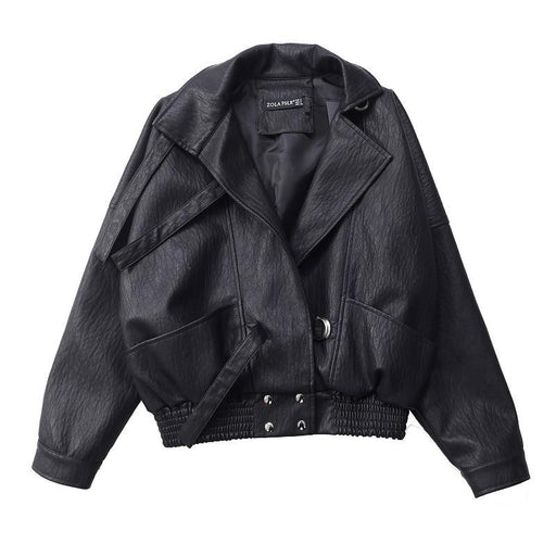 Bat Sleeve Black Synthetic Leather Harajuku Coats for Women Bikers - SolaceConnect.com