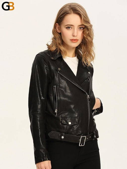 Black Synthetic Leather Slim Short Biker Moto Jacket with Belt for Women - SolaceConnect.com