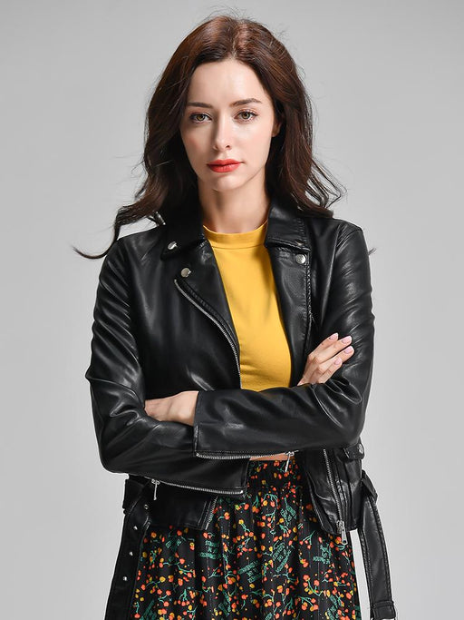 Black Synthetic Leather Short Punk Biker Jacket and Coat with Belt for Women - SolaceConnect.com
