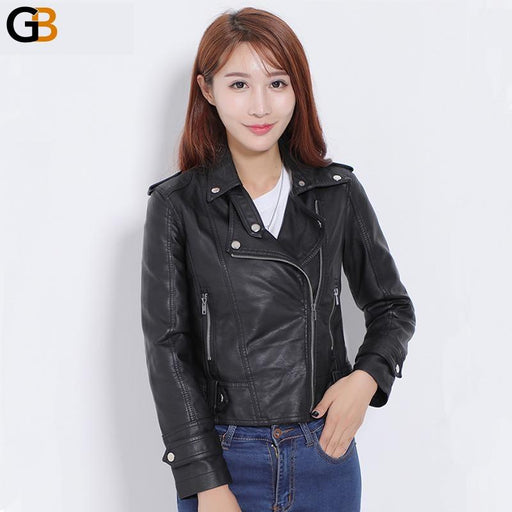 Female Design Spring Autumn Pu Leather Jacket Faux Soft Leather Coat Slim Black Rivet Zipper - SolaceConnect.com