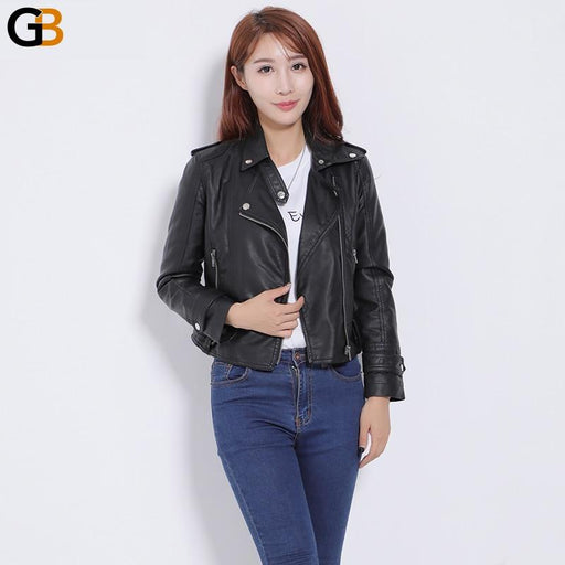 Black Synthetic Soft Leather Slim Fit Zipper Women's Jacket with Rivet Design - SolaceConnect.com