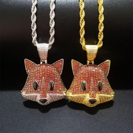 Unisex Iced Out Fox Pendant Jewelry Micro Pave Zircon Animal Necklace - SolaceConnect.com