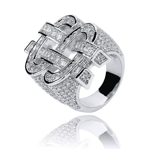 Iced Out 3D Dollar Sign Micro Zircon Rock Ring for Men Hip Hop Jewelry - SolaceConnect.com