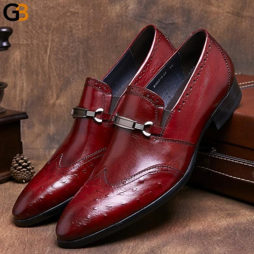 Mens Genuine Leather Shoes Business Formal UK Fashion Vintage Wing Tip Slip On Dress Shoes Men Wedding Party Sapato Masculino - SolaceConnect.com