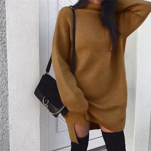 Fashion Hot Sale Knitted Pullover Loose Mini Dress Winter Spring Autumn Women Sweatshirt - SolaceConnect.com