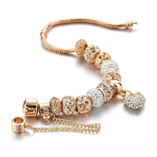 Women's Luxurious 14k Gold Plated Bracelet with Crystal Charms and Bangles - SolaceConnect.com