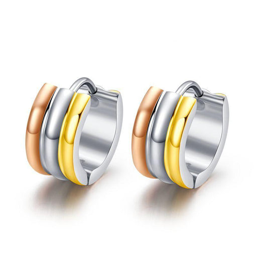 Stainless Steel Small Hoop Metal Round Earrings Jewelry for Women - SolaceConnect.com