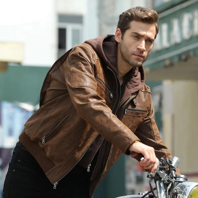 Men's Brown Warm Jacket Made Of Genuine Leather with a Removable Hood - SolaceConnect.com