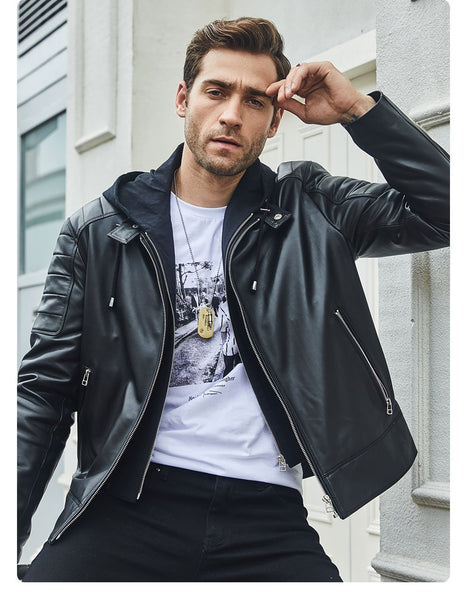 Men's Leather Motorcycle Jacket Black Real Leather Jacket With Removable Hood - SolaceConnect.com