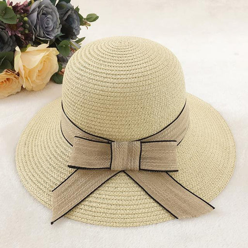 Women's Spring Summer Wide Brim Visor Fashion Beach Straw Hats - SolaceConnect.com