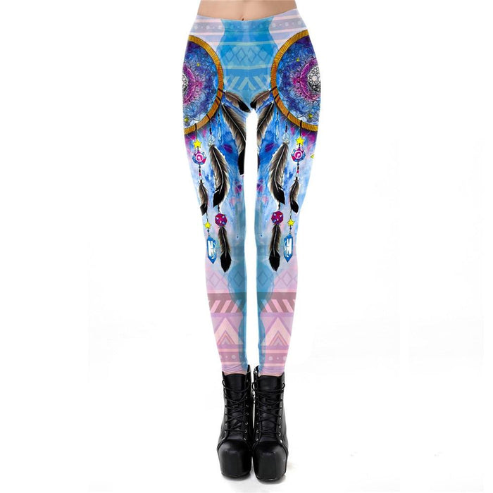 Galaxy Dreamcatcher Printing Workout Fitness Style Slim Leggings - SolaceConnect.com