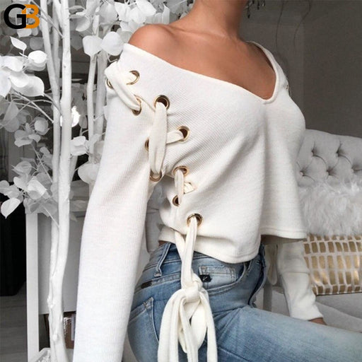 Women's Sexy Style V Neck White Long Sleeve Lace Up Bow Shirt Top - SolaceConnect.com