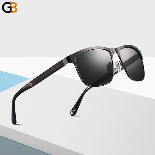 Men's Classic Design Polarized Black Metal Square Driving Sunglasses - SolaceConnect.com