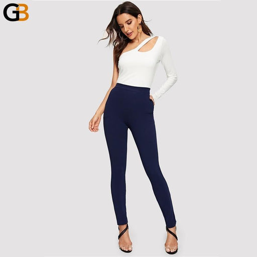 Women's Skinny Autumn Trousers Black Striped Elastic Slim Fit Pencil Pants - SolaceConnect.com