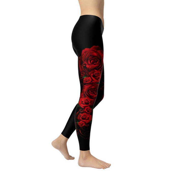 Sporting Women Push Up Skinny Polyester Leggings Red Rose Pattern Printing Elastic Force Fitness - SolaceConnect.com