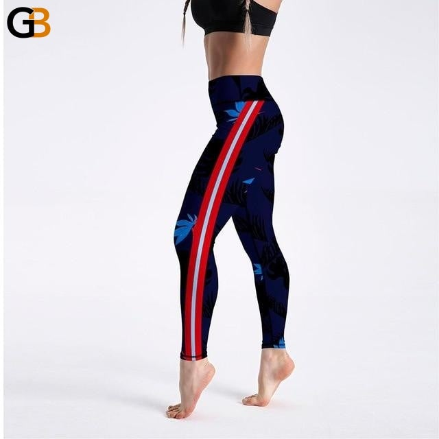 Side Striped Pattern Digital Printed Sports Elastic Fitness Leggings - SolaceConnect.com