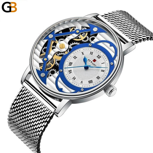 Men's Casual Creative Fashion Waterproof Steel Skeleton Quartz Watches - SolaceConnect.com