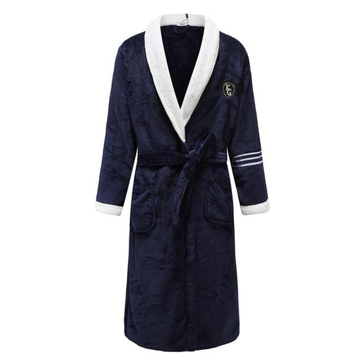 Navy Blue Women Men Coral Kimono Bathrobe Gown Lovers Couple Flannel Nightwear Winter Ultra Thick - SolaceConnect.com