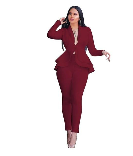 Women's Autumn Two Piece Office Business Ruffle Blazer and Pants Set - SolaceConnect.com