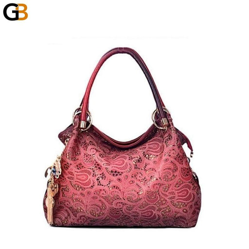 Stylish Women's Hollow Out Designer Leather Zipper Shoulder Handbag - SolaceConnect.com
