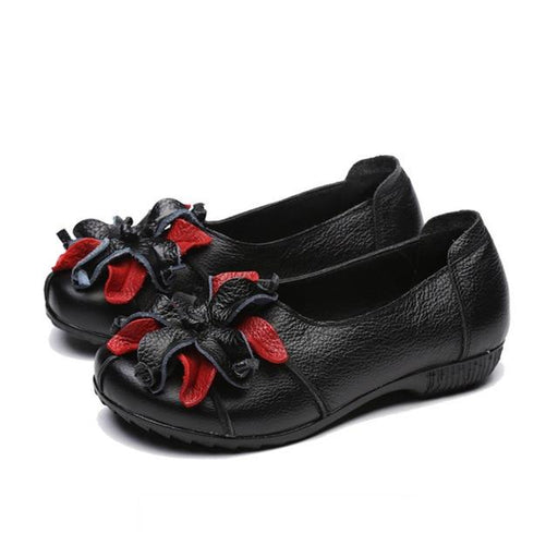 Flower Design Round Toe Women Shoes Genuine Leather Flat Shoes Soft Comfortable Moccasins Loafer - SolaceConnect.com