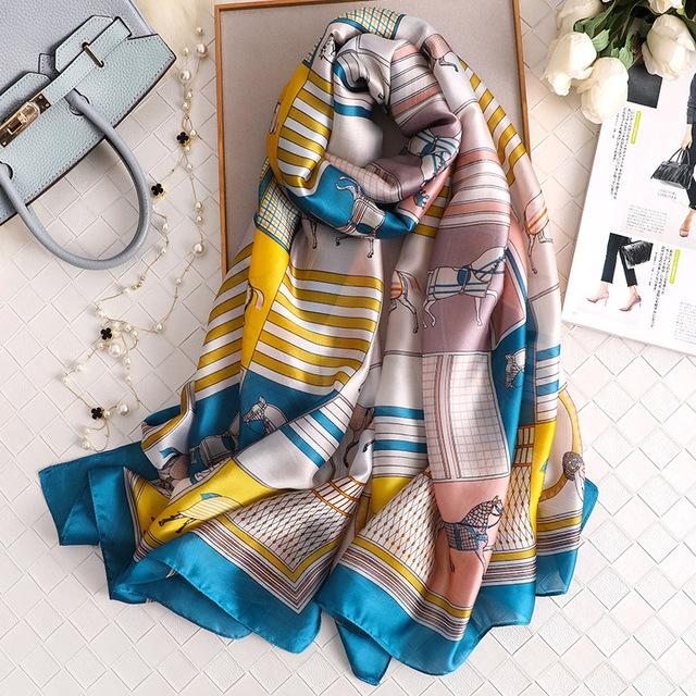 2019 luxury brand Women Silk scarf Beach Shawl and Echarpe summer Wrap Designer scarves Plus Size - SolaceConnect.com