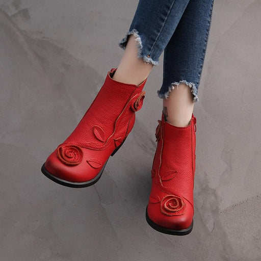 Plus Size 35-42 Autumn Winter Women's Side Zipper Thick Heel Ankle Boots - SolaceConnect.com