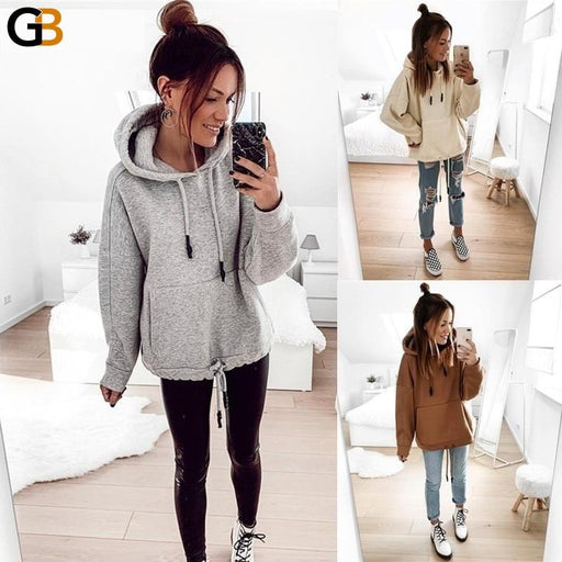 Women's Loose Casual Gray White Streetwear Pullover Long Sleeve Hoodie - SolaceConnect.com