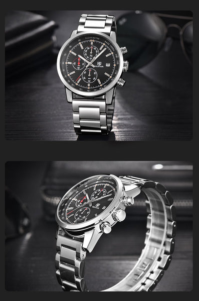 Benyar Men Watch Set Top Brand Luxury Male Leather Quartz Chronograph Military Waterproof Wrist - SolaceConnect.com