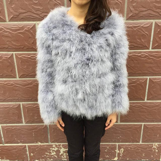 Casual Women's Solid Genuine Ostrich Fur Feather Winter Thick Warm Jacket - SolaceConnect.com