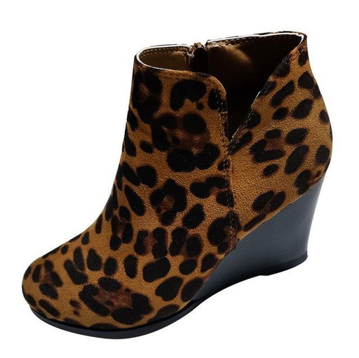 Women's Classic Leopard Print High Heel Wedges Suede Winter Ankle Boots - SolaceConnect.com