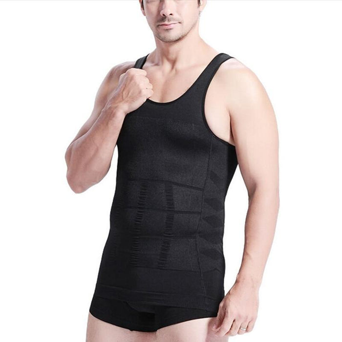 Men's Slimming Tummy Body Shaper Vest Underwear Waist Muscle Girdle Shirt - SolaceConnect.com